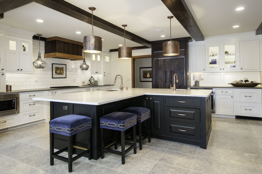 Kitchen with multi-style cabinets with an island