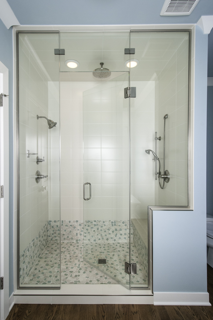 Shower with multi-head faucets